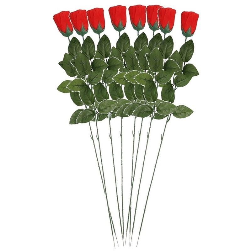 8x Rode Rosa/roos kunstbloem 60 cm