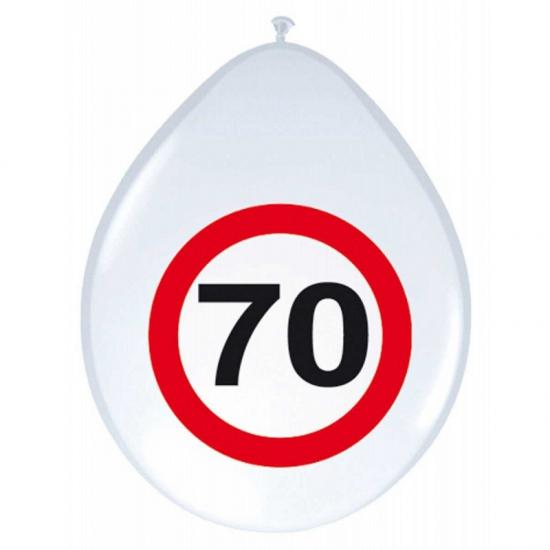 8x stuks Ballonnen 70 jaar verkeersbord