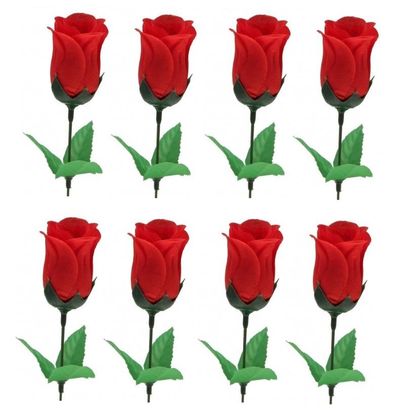 8x Voordelige rode roos kunstbloemen 28 cm