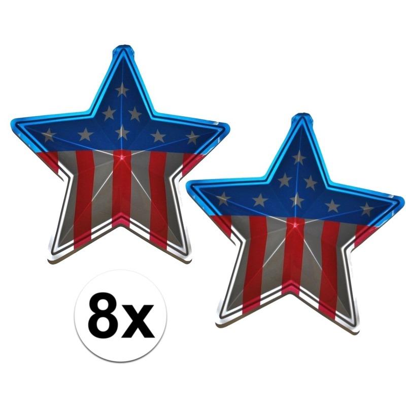 8x Wand decoraties USA 45 cm