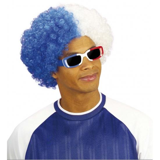 Afropruik blauw - wit