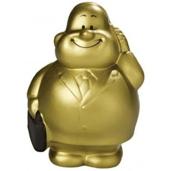 Anti stressbal goud zakenman in pak 9 cm