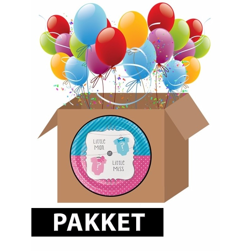 Babyshower gender reveal feestpakket