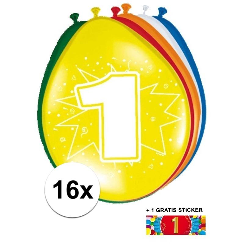 Ballonnen 1 jaar van 30 cm 16 stuks + gratis sticker
