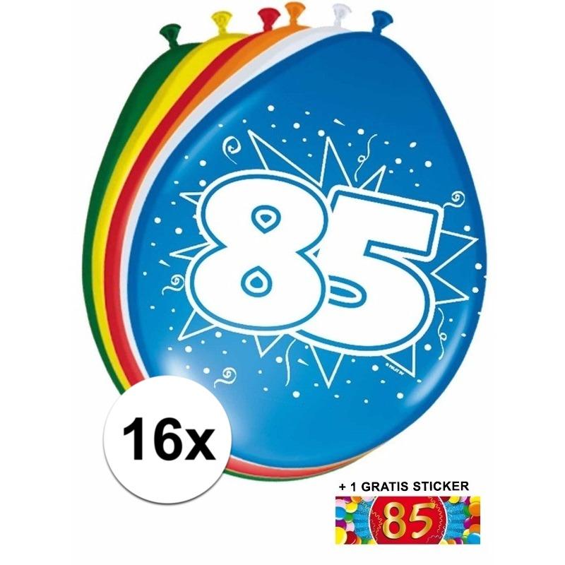 Ballonnen 85 jaar van 30 cm 16 stuks + gratis sticker