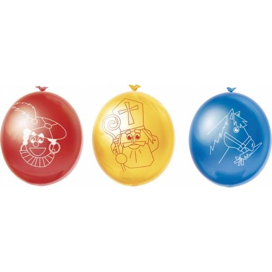 Ballonnen Sint en Piet 10 stuks