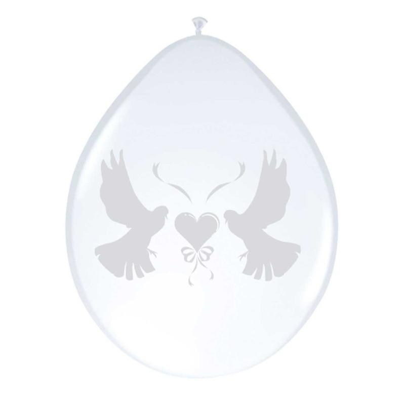 Ballonnen wit met duif 8 stuks