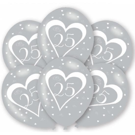 Ballonnen zilver 25 jaar 6 stuks