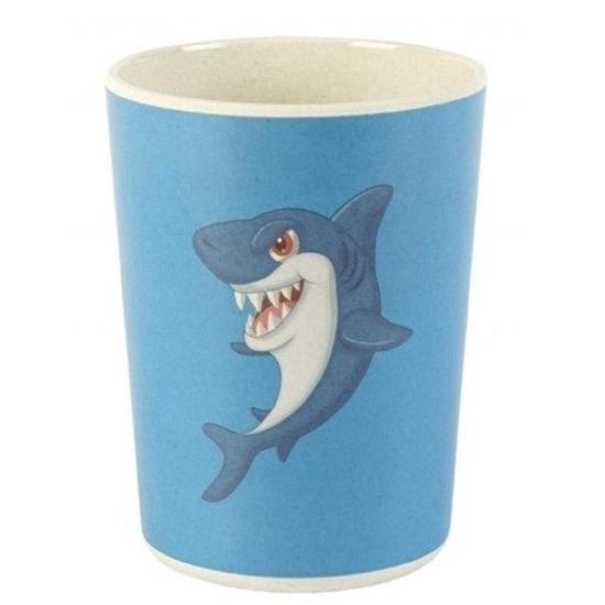 Bamboe beker met haai voor kinderen 8 cm
