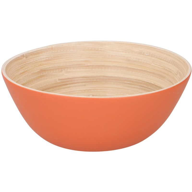 Bamboe serveerschaal oranje 17 cm