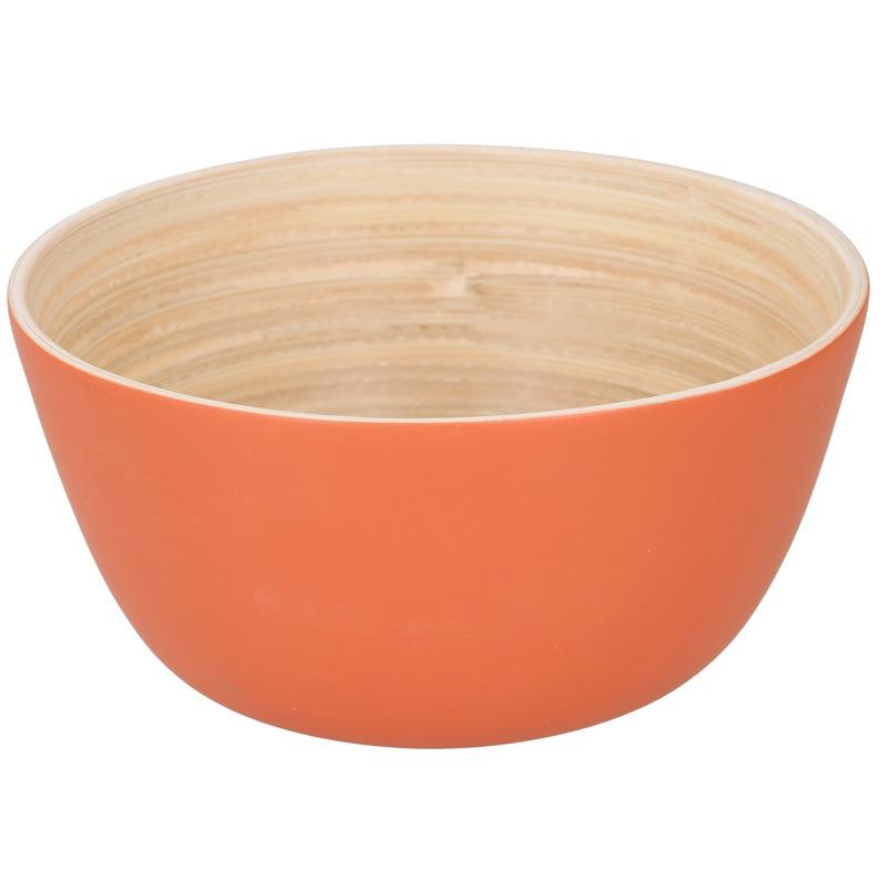 Bamboe snack schaaltje oranje 12 cm