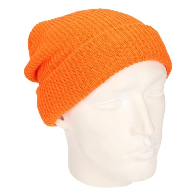 Basic beanie muts lang oranje voor heren