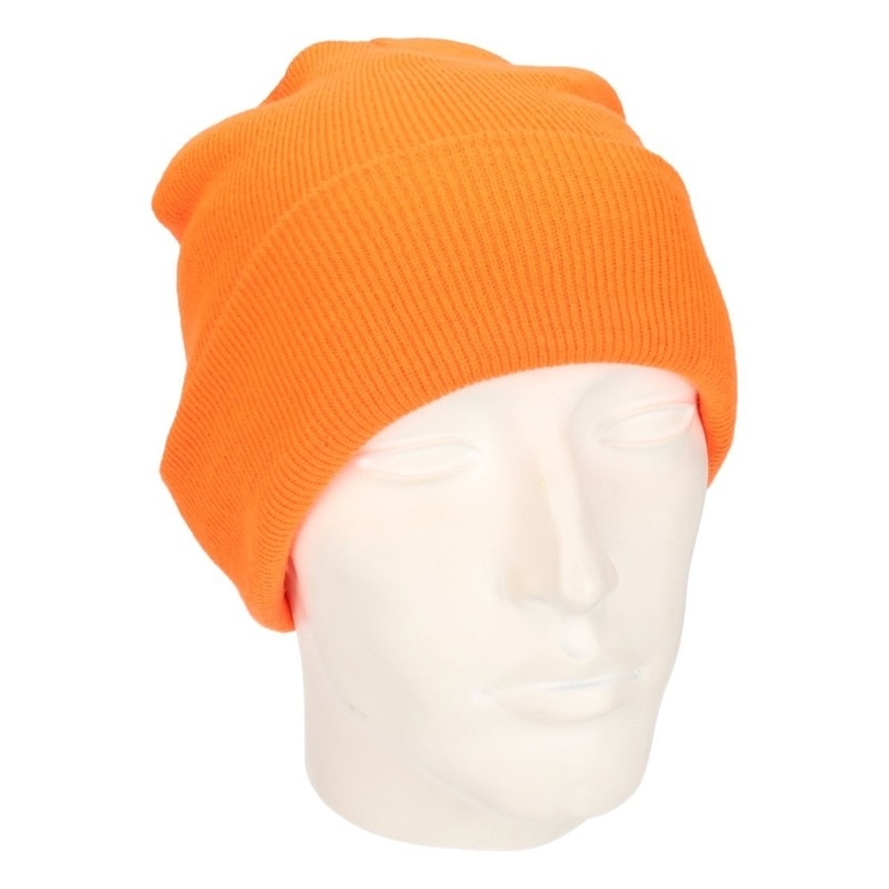 Basic winter muts fluor oranje