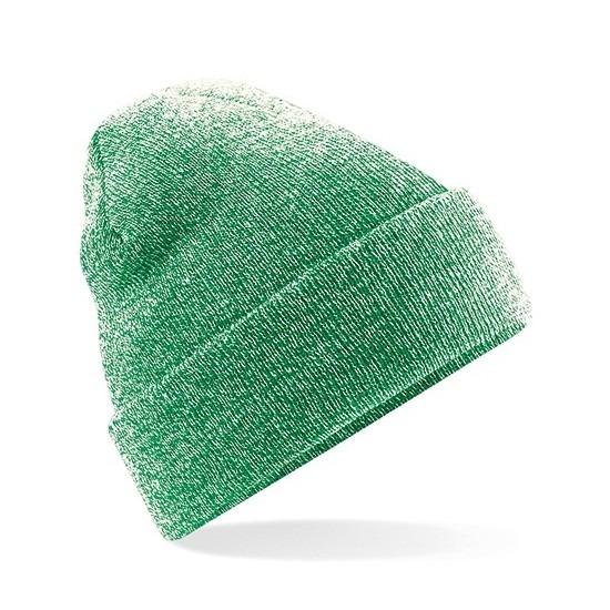 Basic winter muts groen gemeleerd voor volwassenen