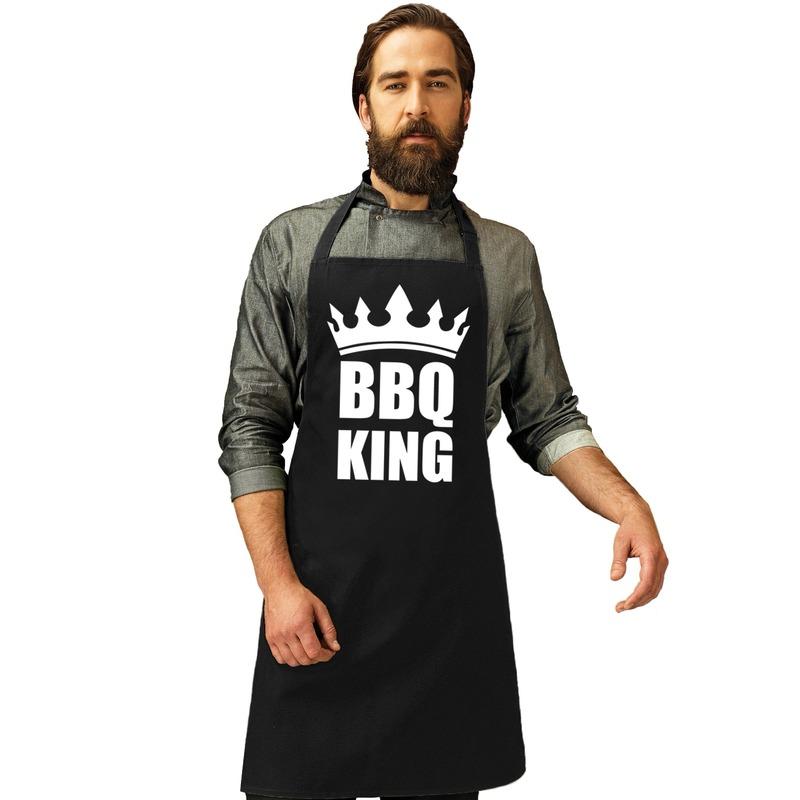 BBQ King barbecueschort/ keukenschort zwart heren