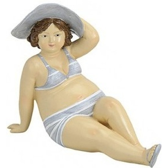Beeld dikke dame 14 cm in grijs/witte bikini