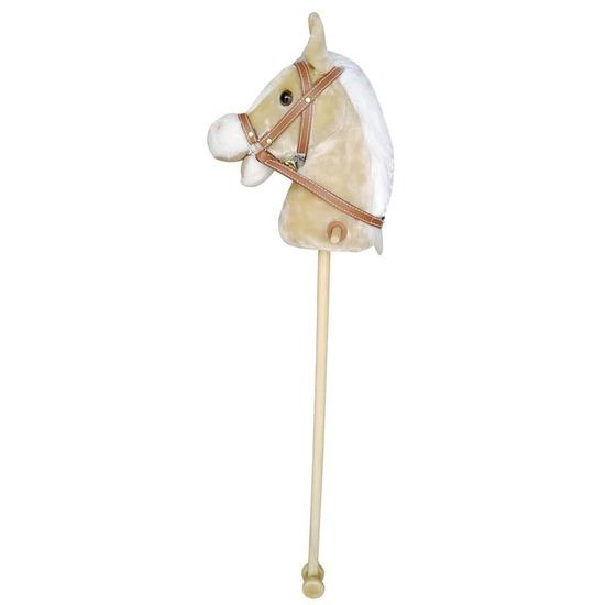 Beige stokpaardje met beweging en geluid 97 cm