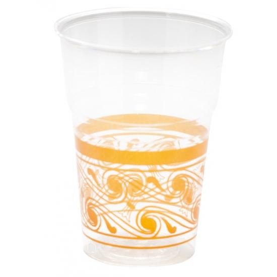 Bekers met oranje decoratie rand
