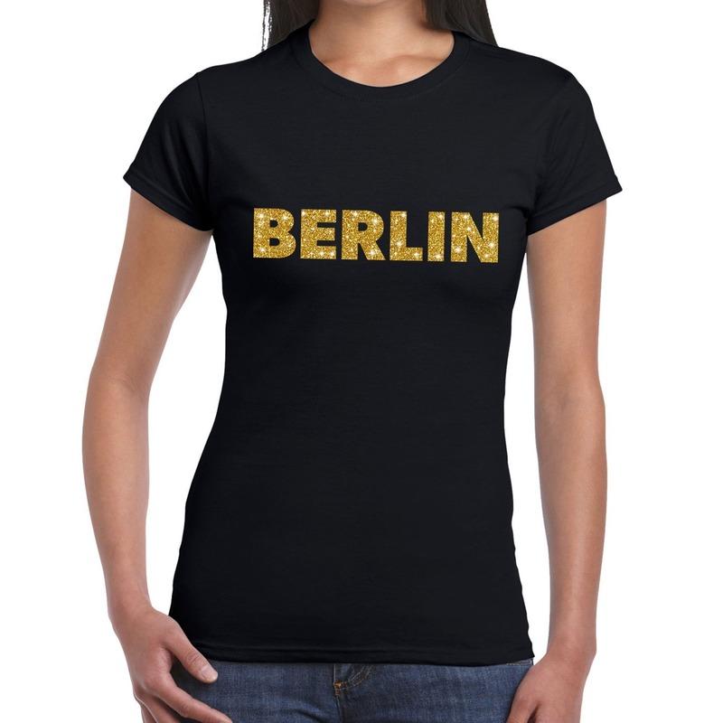 Berlin gouden glitter tekst t-shirt zwart dames