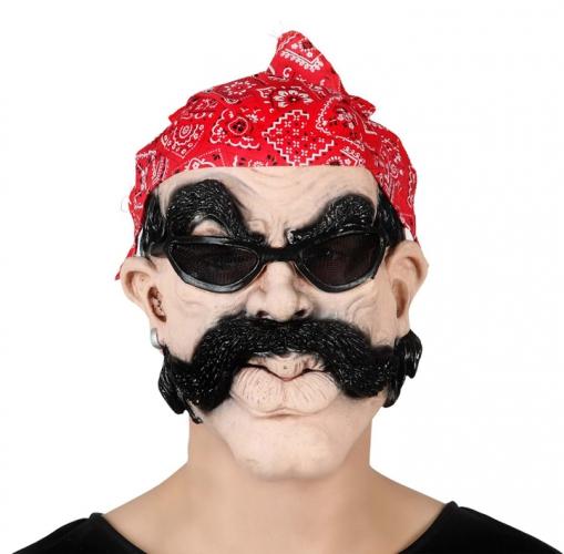 Biker masker met bandana en bril