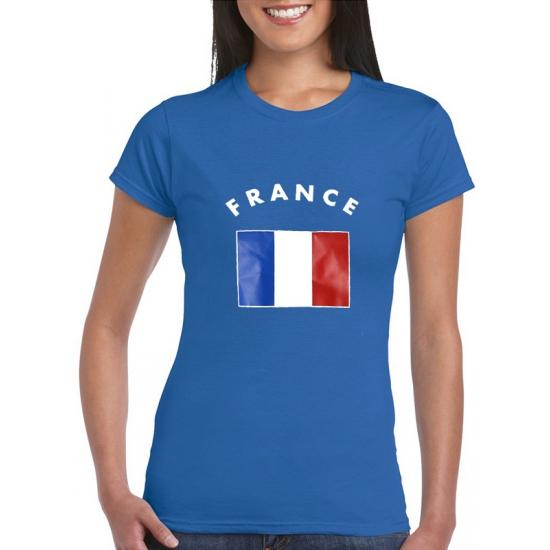 Blauw dames t-shirt Frankrijk