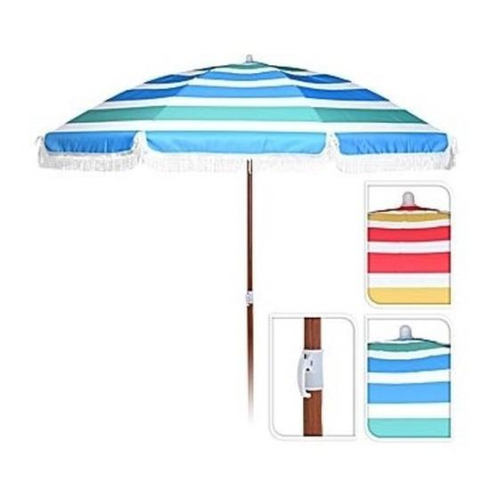 Blauw/groen/witte parasol 180 cm