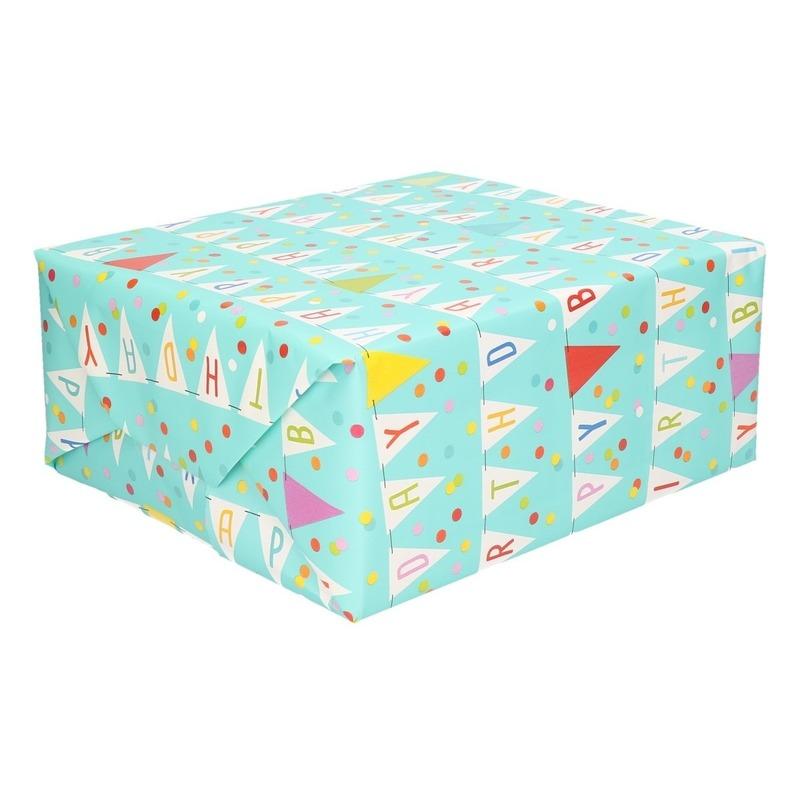 Blauw inpakpapier/cadeaupapier Happy Birthday 200 x 70 cm op rol