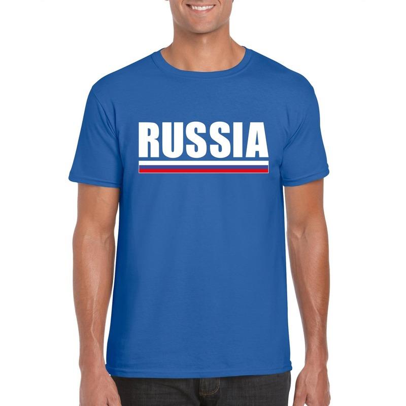 Blauw Rusland supporter t-shirt voor heren
