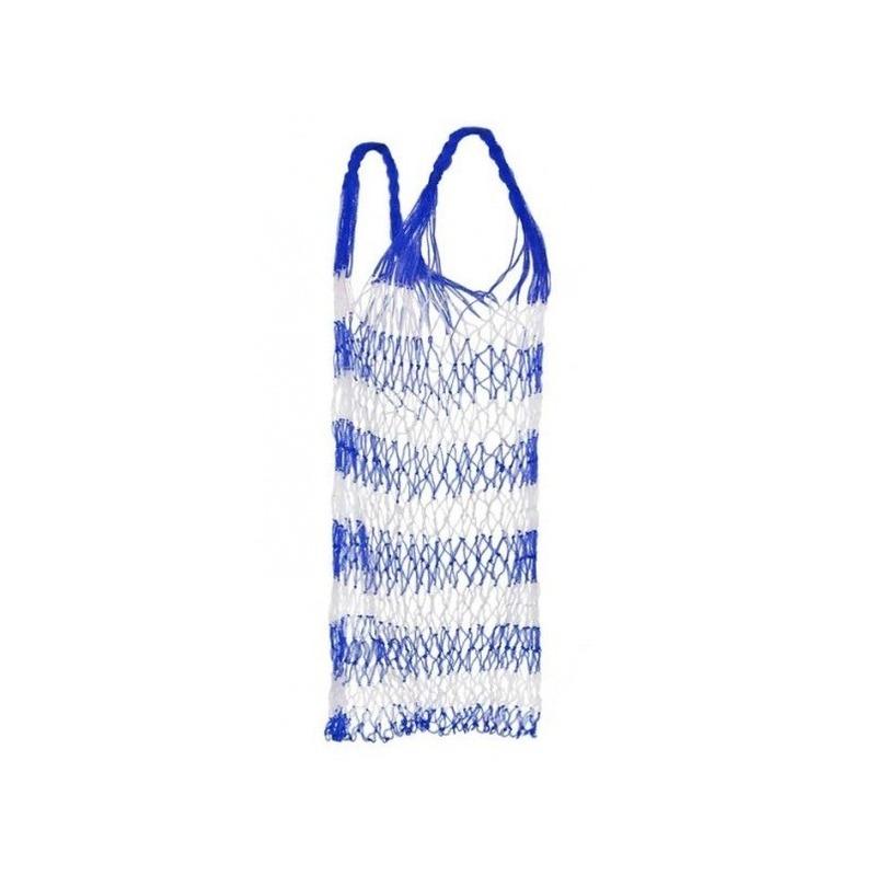 Blauw strand draagnet - strandtas 75 cm