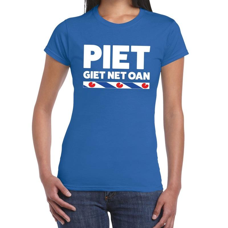 Blauw t-shirt Friesland Piet Giet Net Oan dames