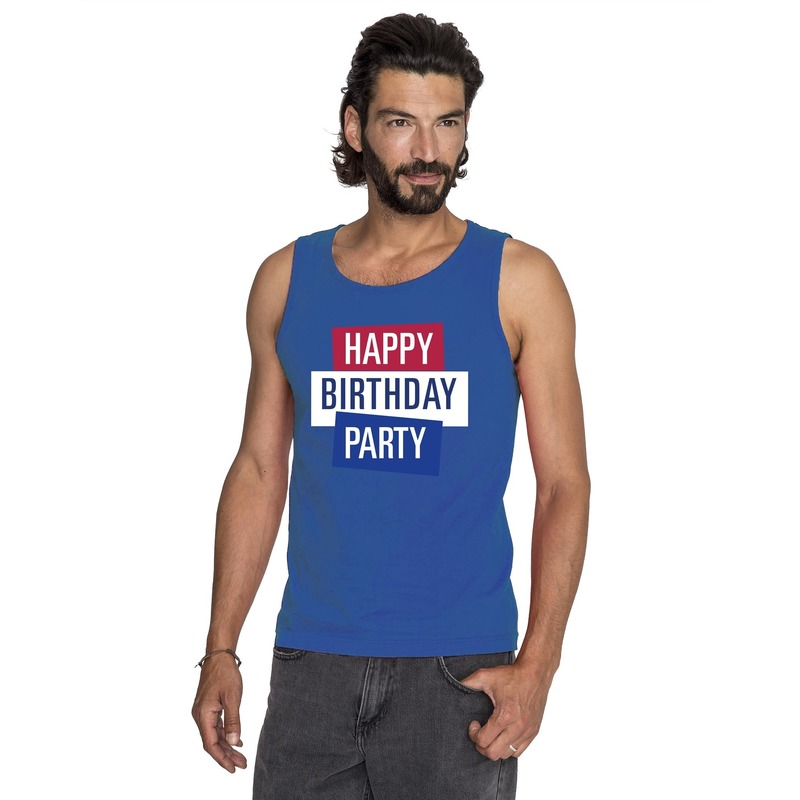 Blauw Toppers Happy Birthday party mouwloos shirt heren