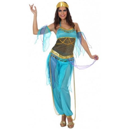 Blauwe Arabische 1001 nacht dame outfit