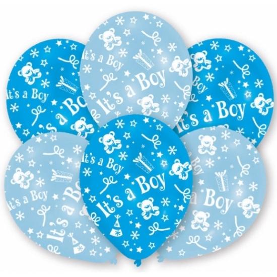 Blauwe geboorte ballonnen jongen 6 stuks