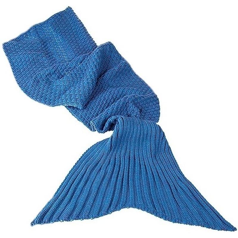 Blauwe gebreide zeemeermin deken volwassenen 180 cm