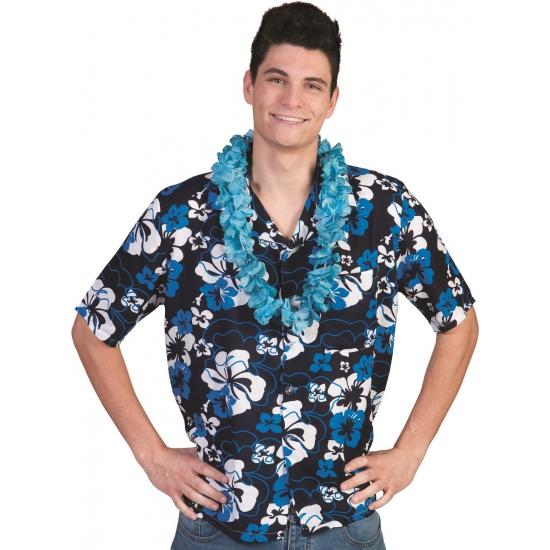 Blauwe Hawaii thema verkleed blouse overhemd Honolulu