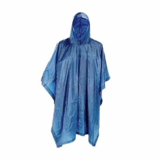 Blauwe herbruikbare regenponcho voor volwassenen