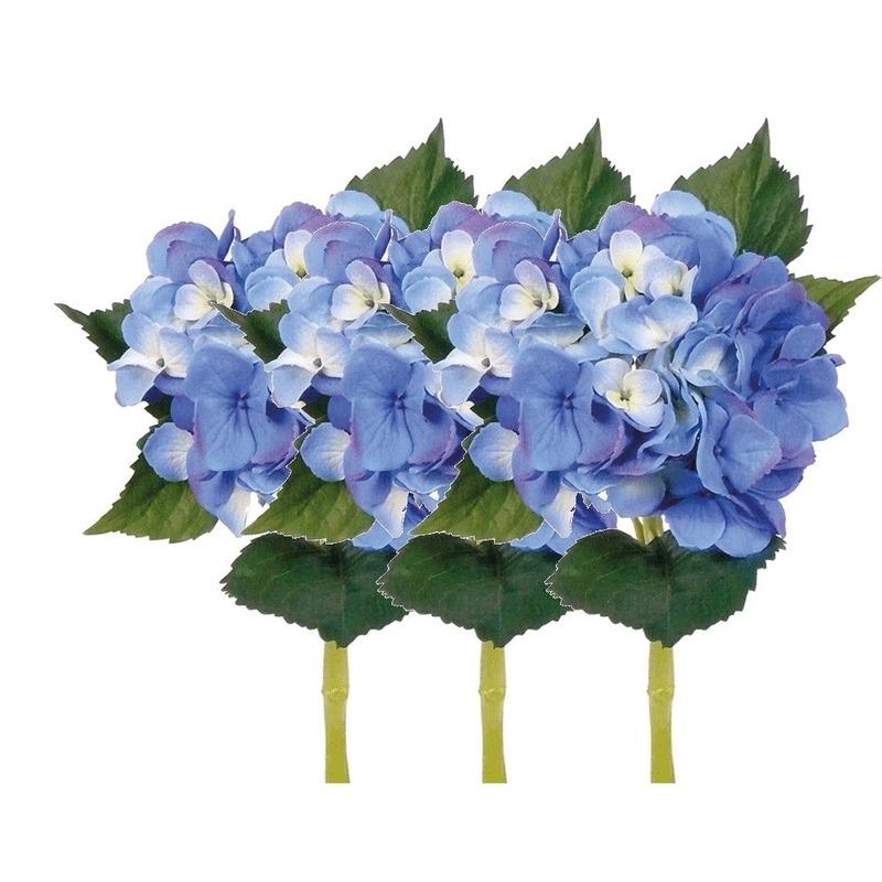 Blauwe Hortensia kunstbloemen op steel 48 cm