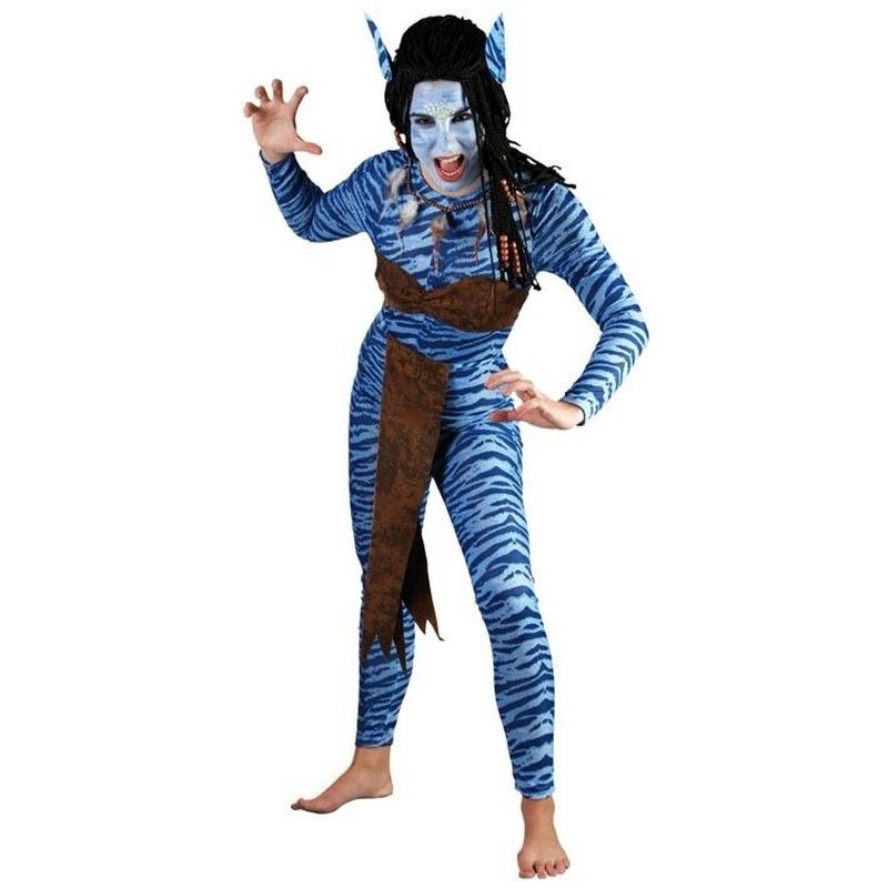 Blauwe jungle strijdster kostuum voor dames