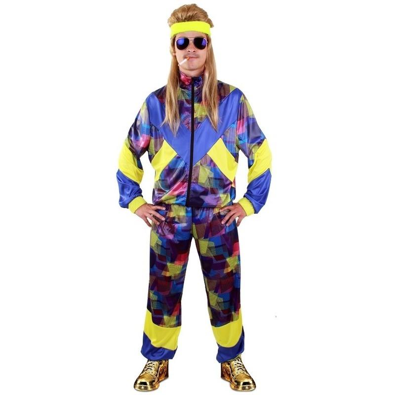 Blauwe multikleuren retro trainingspak kostuum