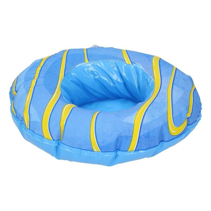Blauwe opblaasbare donut blikjes houder