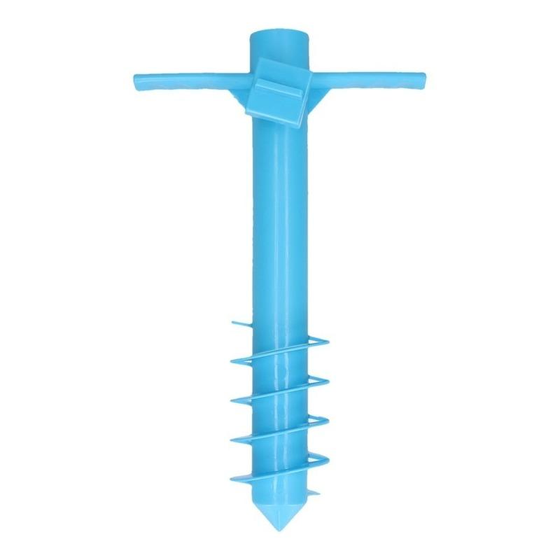 Blauwe parasolhouder/ parasolharing strand 40 cm