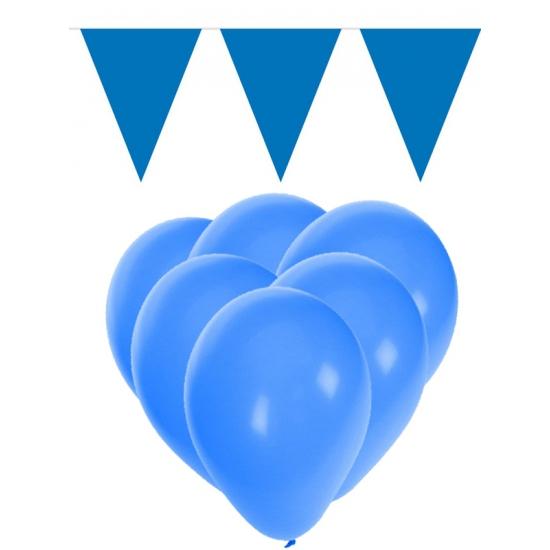 Blauwe versiering 15 ballonnen en 2 vlaggenlijnen
