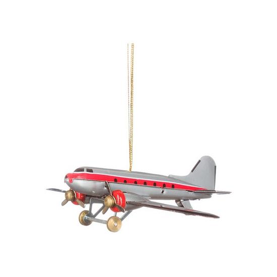 Blikken vliegtuigje grijs 9 cm