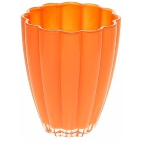 Bloemvorm vaas oranje glas 17 cm