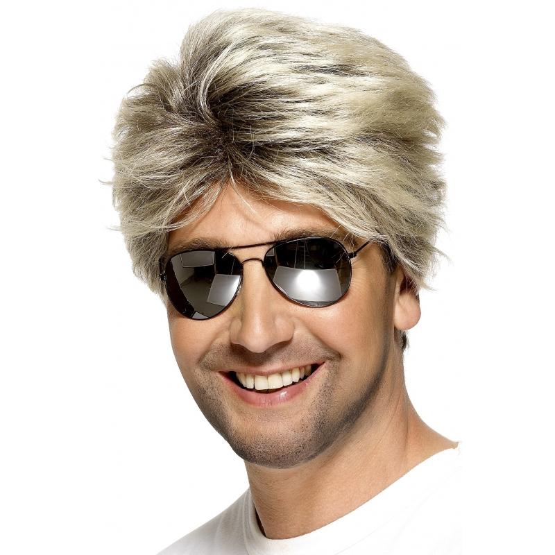 Blonde herenpruik jaren 80
