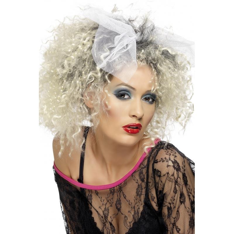 Blonde jaren 80 damespruik gekruld
