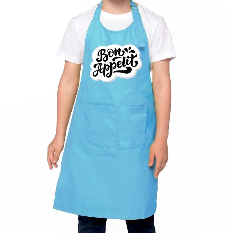 Bon appetit keukenschort blauw voor kinderen