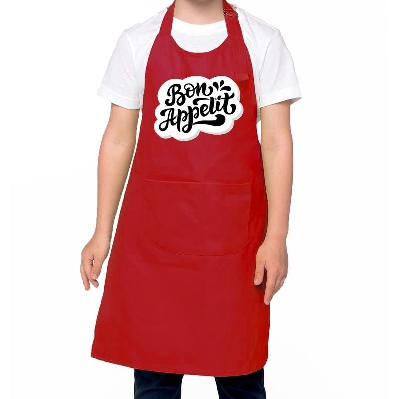 Bon appetit keukenschort rood voor kinderen