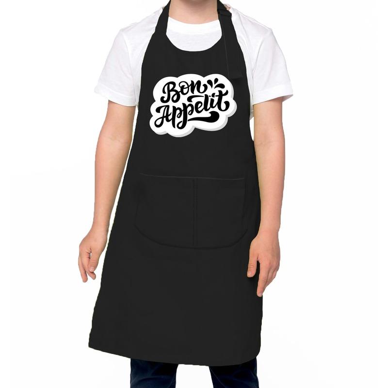 Bon appetit keukenschort zwart voor kinderen