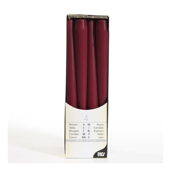 Bordeaux rode kandelaar kaarsen 25 cm